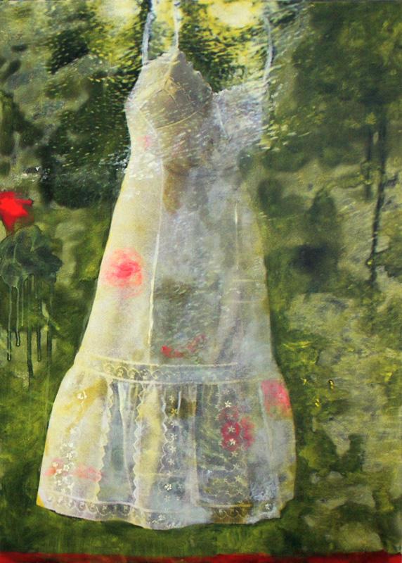Kleid ll, Öl und Acryl auf Inkjet auf Leinwand, 118 x 87 cm, 2011