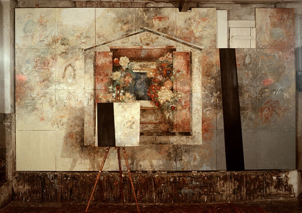 Malerei (soziale Bilder), Öl auf Leinwand, 28-teilig, je 60 x 60cm,Grösse variabel, 1992