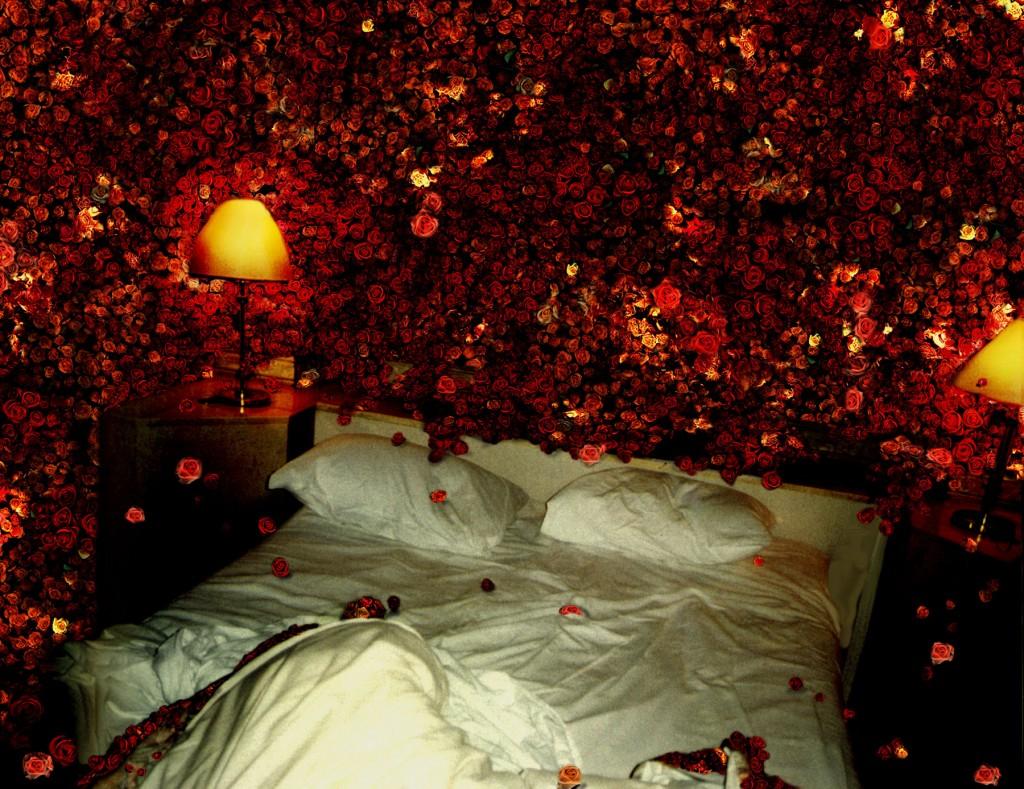 Die Rosenlast stürzt lautlos von den Wänden, Grossdia in Leuchtkasten, 98cm x 127cm, 1997/98