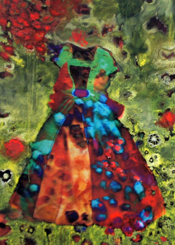 Kleid I, Öl und Acryl auf Inkjet auf Leinwand, 118 x 87cm, 2011
