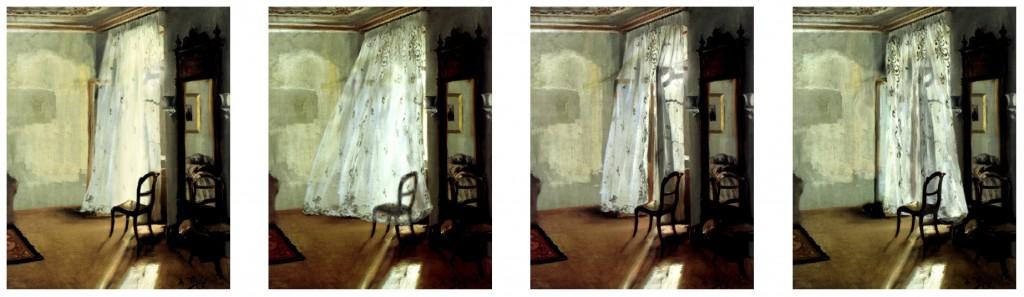 Das Balkonzimmer, 2000; Pigmentdruck auf Canvas, je 58cm x 47cm
