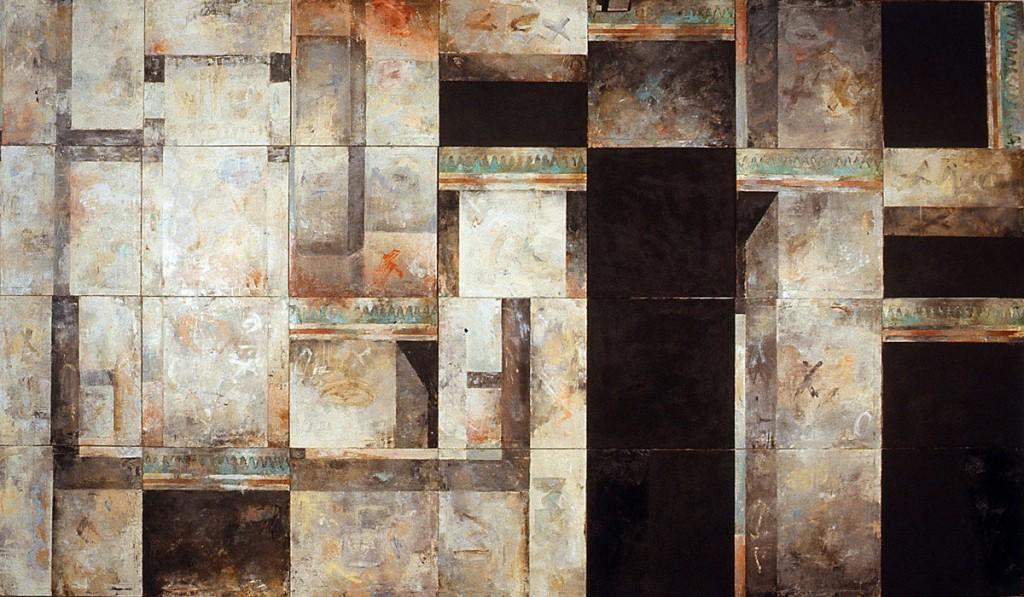 Malerei (soziale Bilder), Öl auf Leinwand, 28-teilig, je 60 x 60cm,vertauscht, 1989