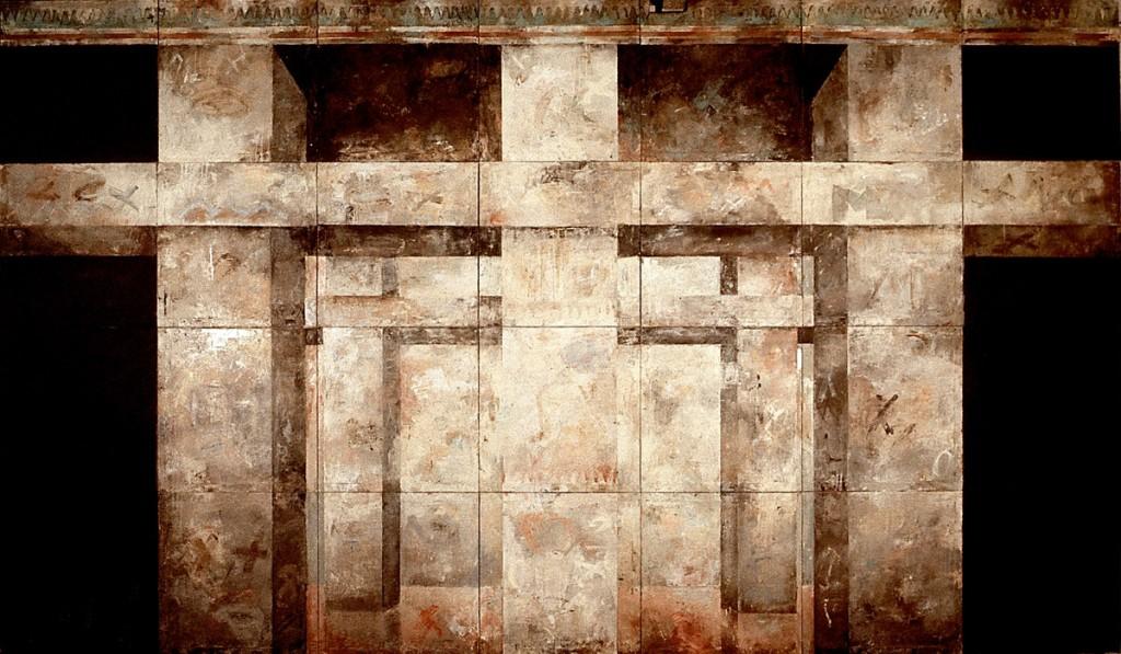 Malerei (soziale Bilder), Öl auf Leinwand, 28-teilig, je 60 x 60cm,Grösse variabel, 1989